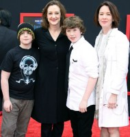 Ann Cusack with sister Joan Cusack and her sons Miles Burke & Dylan John Burke