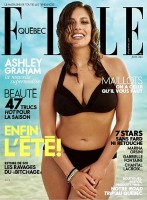 Ashley Graham on Elle Quebec magazine cover (sexy black bikini on the beach)