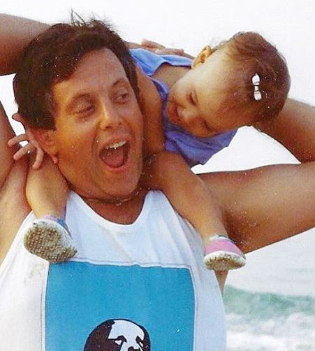 Britt Baron with her father in childhood