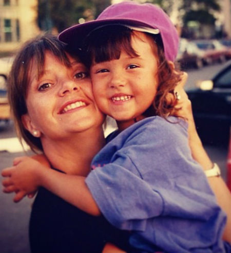 Britt Baron with her mother in childhood