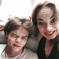 Charlie Heaton with his siter