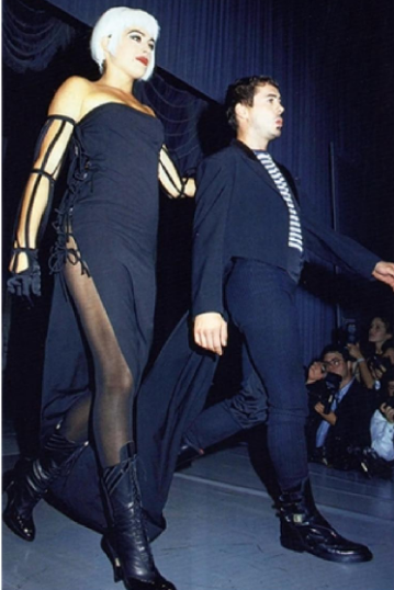 Deborah Falconer & Robert Downey Jr. walking the ramp in 1992