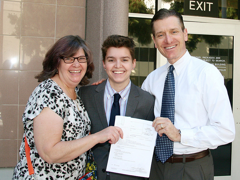 Elliot Fletcher with parents: Father-John DeMita, Mother- Julia Fletcher