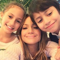 Emme and Max Muniz with mom Jennifer Lopez