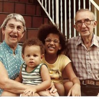 Eric Andre & sister Amy with grandparents