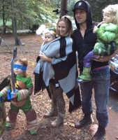 Erin Angle & Jon Bernthal family on a forest adventure