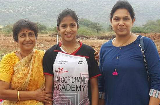 Gayatri Gopichand with grandmother Subbaravamma Pullela & mother P V V Lakshmi