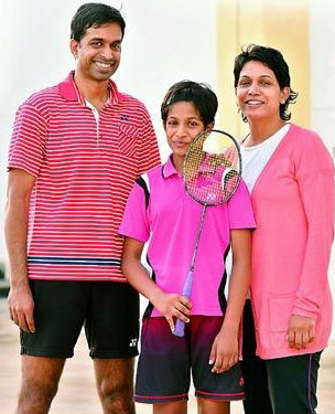 Gayatri Pullela Gopichand with her parents: Pullela Gopichand(Father) & P V V Lakshmi(Mother)