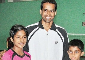 Gayatri with father Pullela Gopichand & brother Sai Vishnu Gopichand