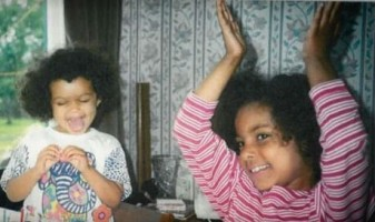 Georgina Campbell with sister- childhood