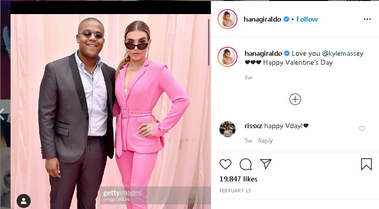 Hana Giraldo wishing Kyle Massey on Valentine's day