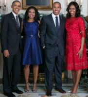 Jemele Hill & boyfriend with Barack Obama and wife Michelle