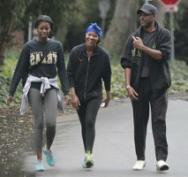 Lawrence Hilton-Jacobs with daughters