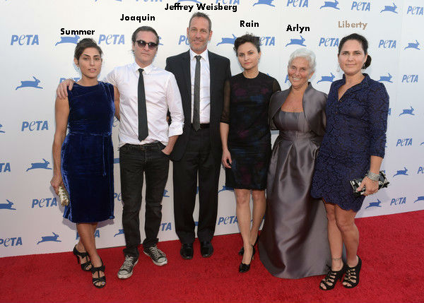 Liberty Phoenix family at a PETA event: Jeffrey Weinberg(stepfather), Arlyn Phoenix(Mother), Brother- Joaquin Phoenix; Sisters- Rain Phoenix, Summer Phoenix