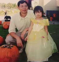Madison Hu childhood halloween with father