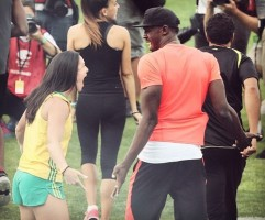 Michelle Jenneke with Usain Bolt