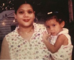 Sierra Capri with her mother in childhood